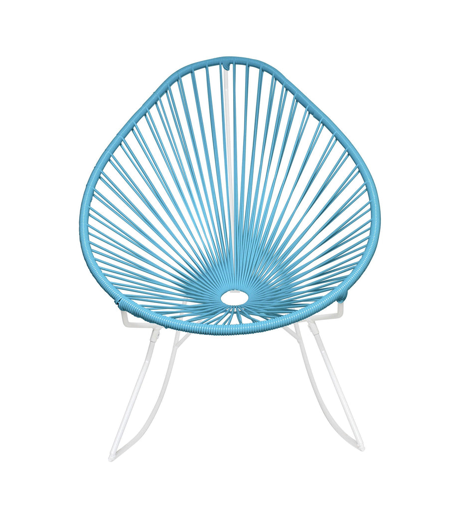 Outdoor Lounge Chair Blue Weave on White Frame Acapulco Rocker on White Frame