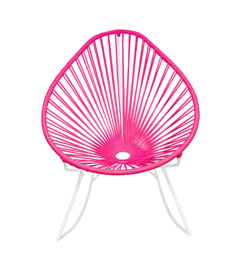 Outdoor Lounge Chair Pink Weave on White Frame Acapulco Rocker on White Frame
