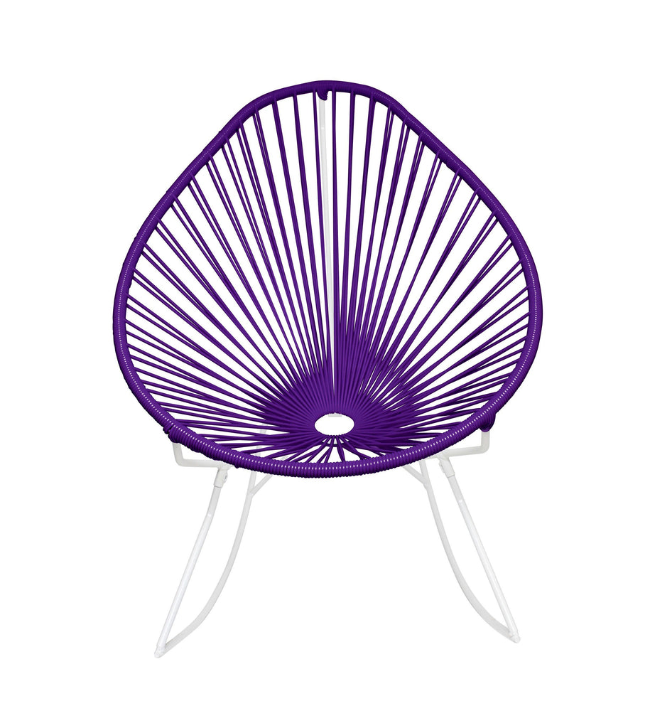 Outdoor Lounge Chair Purple Weave on White Frame Acapulco Rocker on White Frame