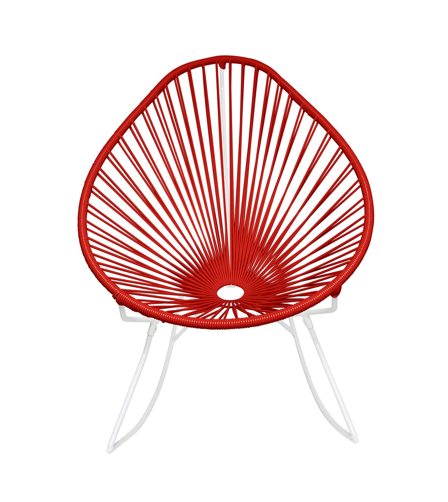 Outdoor Lounge Chair Red Weave on White Frame Acapulco Rocker on White Frame