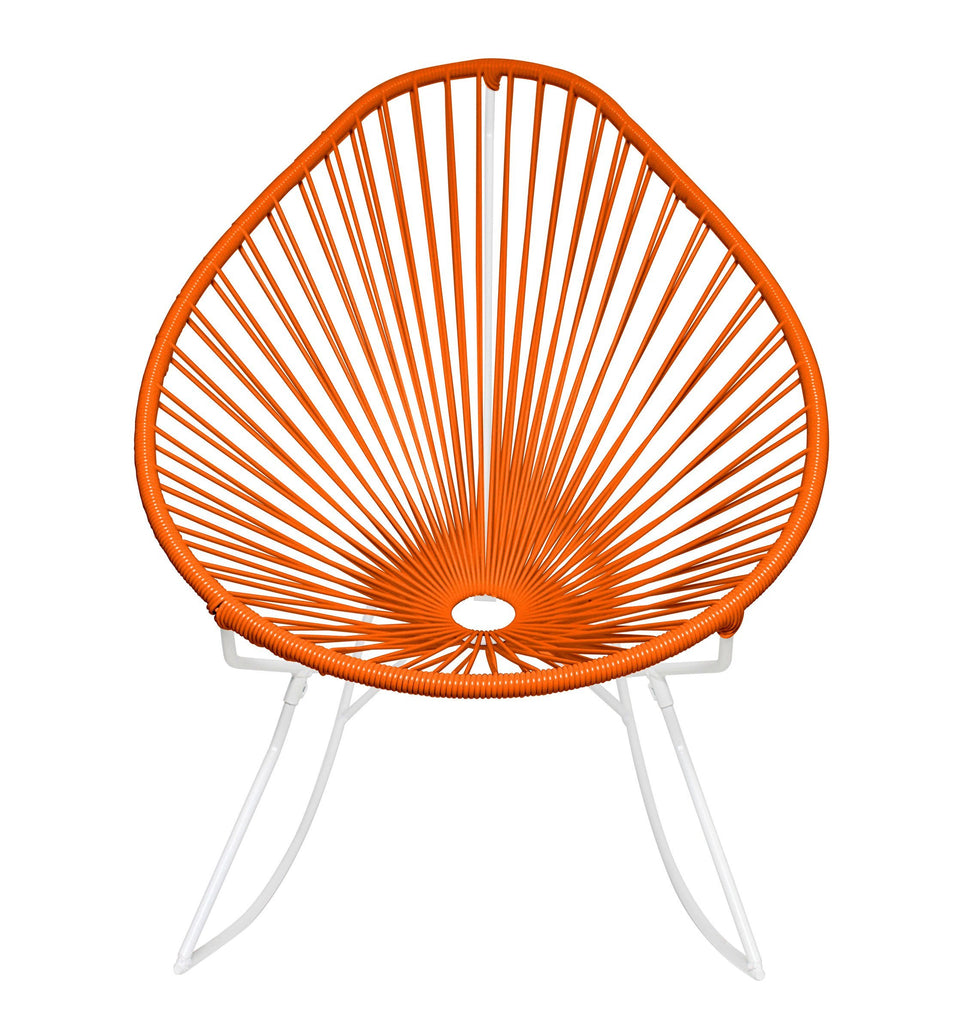 Outdoor Lounge Chair Orange Weave on White Frame Acapulco Rocker on White Frame