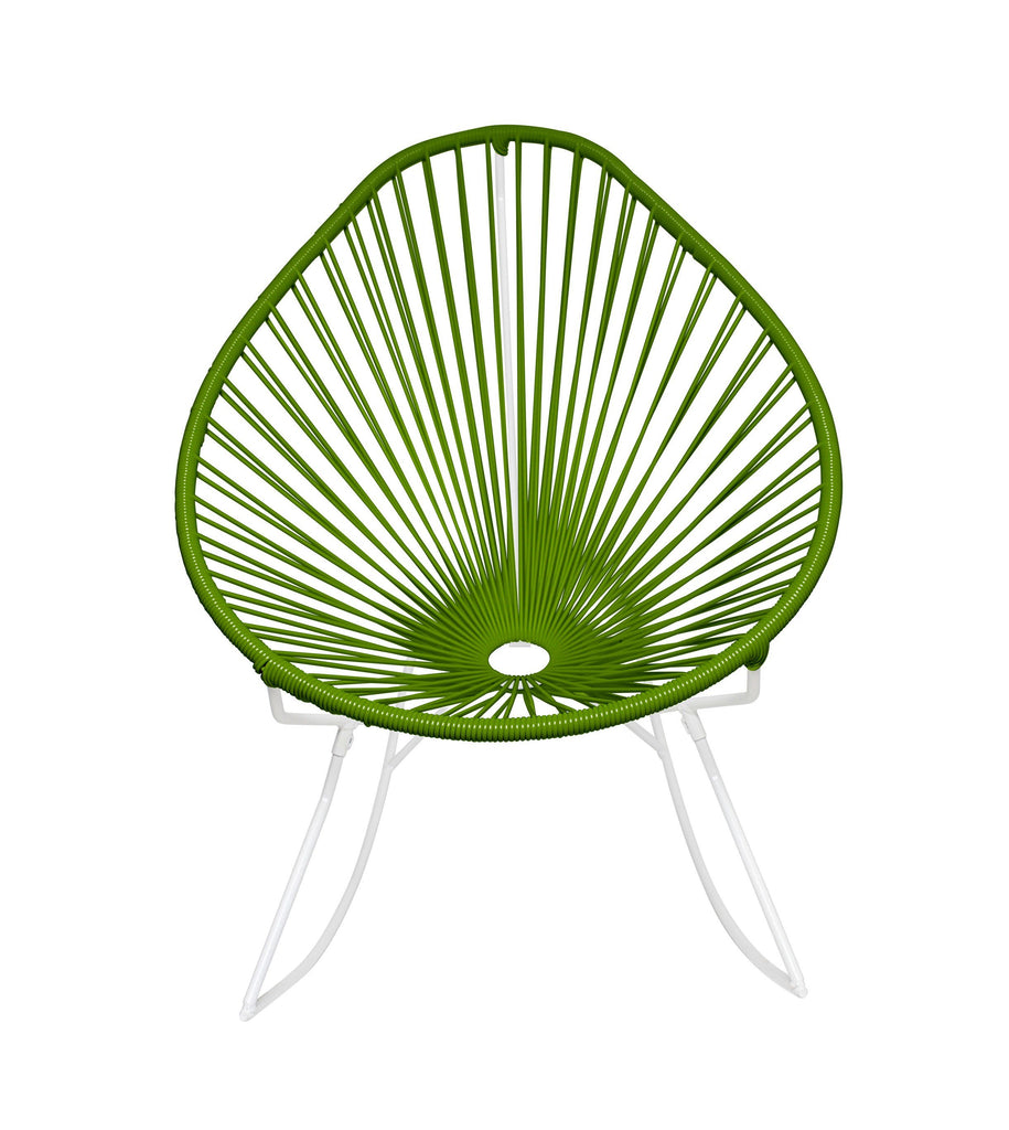 Outdoor Lounge Chair Cactus Weave on White Frame Acapulco Rocker on White Frame