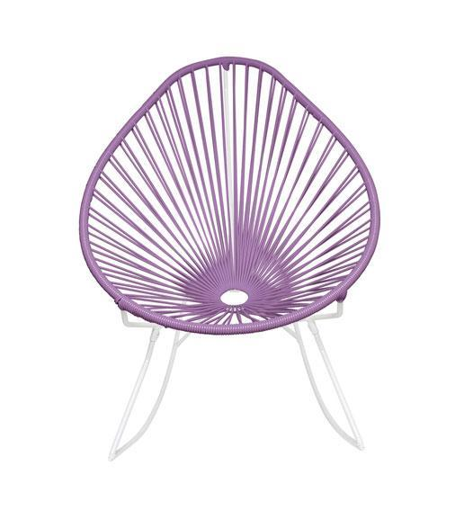 Outdoor Lounge Chair Orchid Weave on White Frame Acapulco Rocker on White Frame