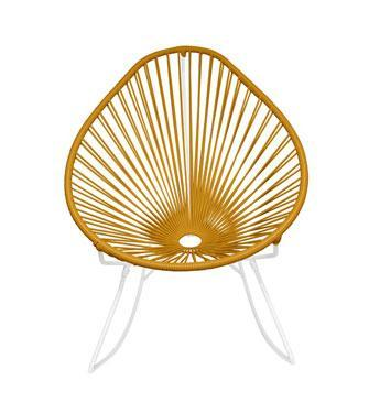 Outdoor Lounge Chair Caramel Weave on white Frame Acapulco Rocker on White Frame