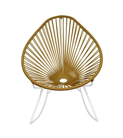 Outdoor Lounge Chair Gold Weave on White Frame Acapulco Rocker on White Frame