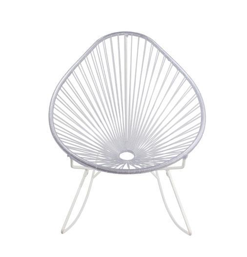 Outdoor Lounge Chair Clear Weave on White frame Acapulco Rocker on White Frame