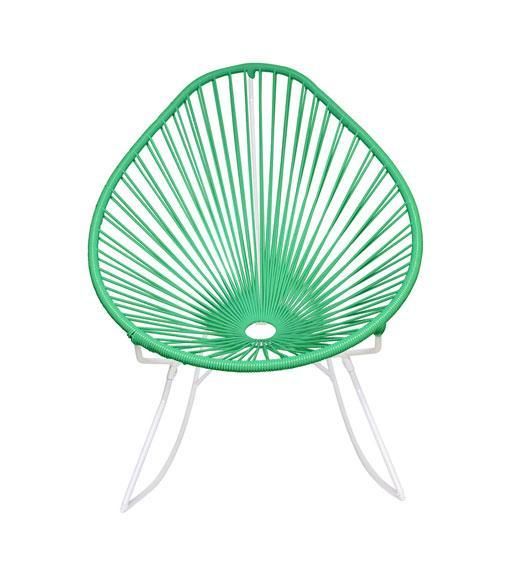 Outdoor Lounge Chair Mint Weave on White frame Acapulco Rocker on White Frame
