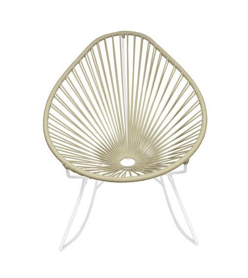 Outdoor Lounge Chair Ivory Weave on White frame Acapulco Rocker on White Frame