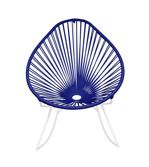 Outdoor Lounge Chair Deep Blue Weave on White frame Acapulco Rocker on White Frame