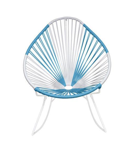 Outdoor Lounge Chair Argentina Weave on White Frame Acapulco Rocker on White Frame