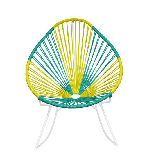 Outdoor Lounge Chair Brazil Weave on White Frame Acapulco Rocker on White Frame