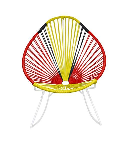 Outdoor Lounge Chair Germany Weave on White Frame Acapulco Rocker on White Frame