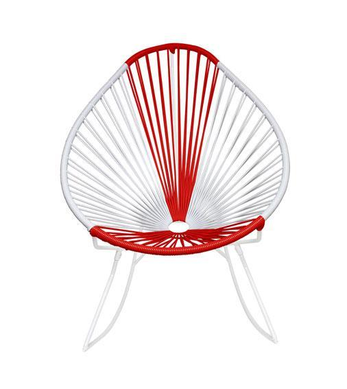 Outdoor Lounge Chair Japan Weave on White Frame Acapulco Rocker on White Frame