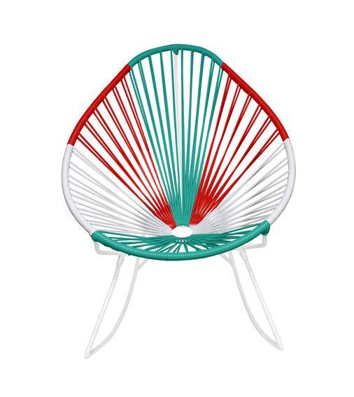 Outdoor Lounge Chair Mexico Weave on White Frame Acapulco Rocker on White Frame