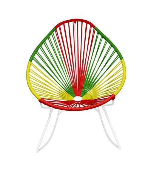 Outdoor Lounge Chair Portugal Weave on White Frame Acapulco Rocker on White Frame