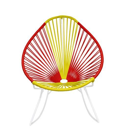 Outdoor Lounge Chair Spain Weave on White Frame Acapulco Rocker on White Frame
