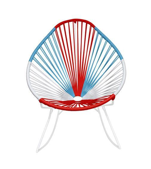 Outdoor Lounge Chair USA Weave on White Frame Acapulco Rocker on White Frame