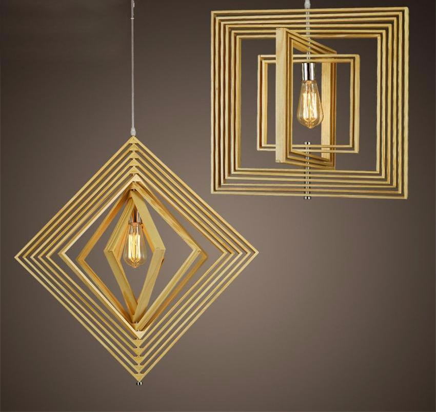Buy Adjustable Nordic Style Geometric Wood Pendant Light At Lifeix Design For Only 331 19