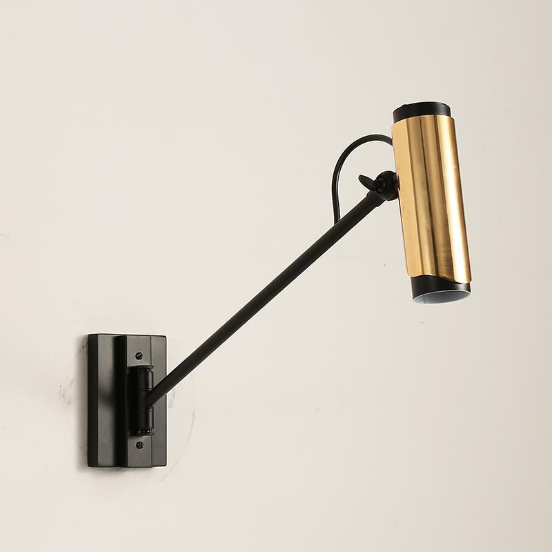Adjustable Gold & Black Spotlight Wall Lamp at Lifeix Design