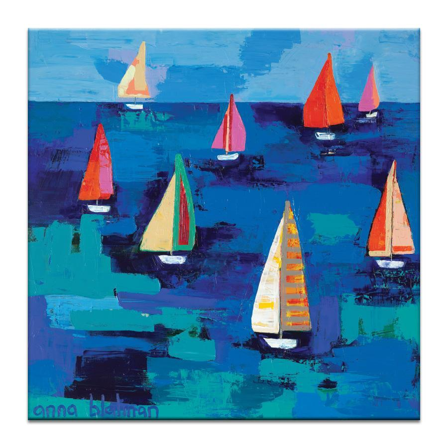 "Artwork 16x16x1.5"" Adrian's Regatta Artwork by Anna Blatman"