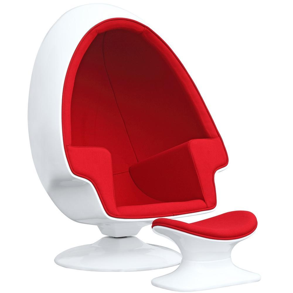 Red Alpha Egg Chair and Ottoman