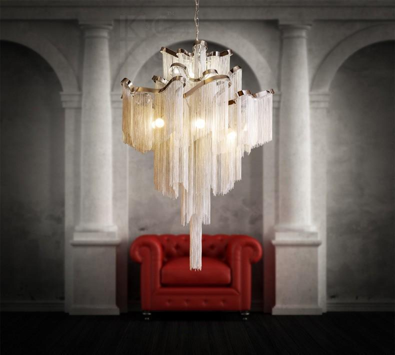 Aluminum Tassel Atlantis Stream Pendant Light Chandelier at Lifeix Design
