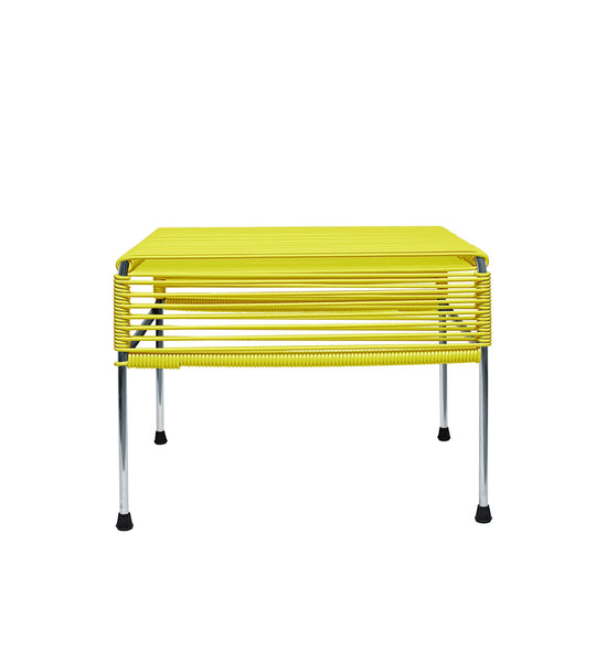 Ottomans & Poufs Yellow Weave on Chrome  Frame Atom Ottoman on Chrome Frame