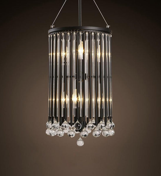 Black Crystal Industrial Style Chandelier at Lifeix Design