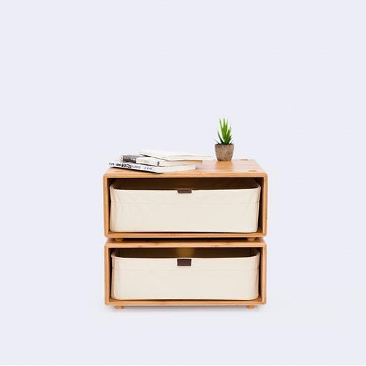 BLOCK Natural Bamboo Night Stand with Canvas Drawer at Lifeix Design