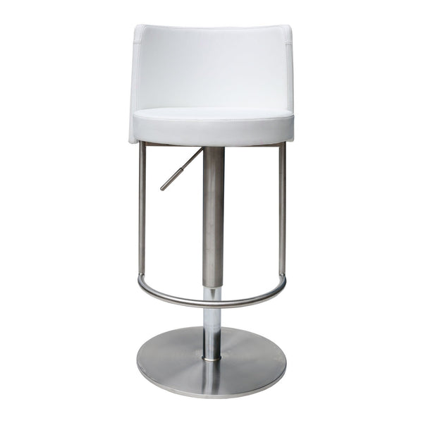 Bar Stool Bowery White Adjustable Height Swivel Bar Stool