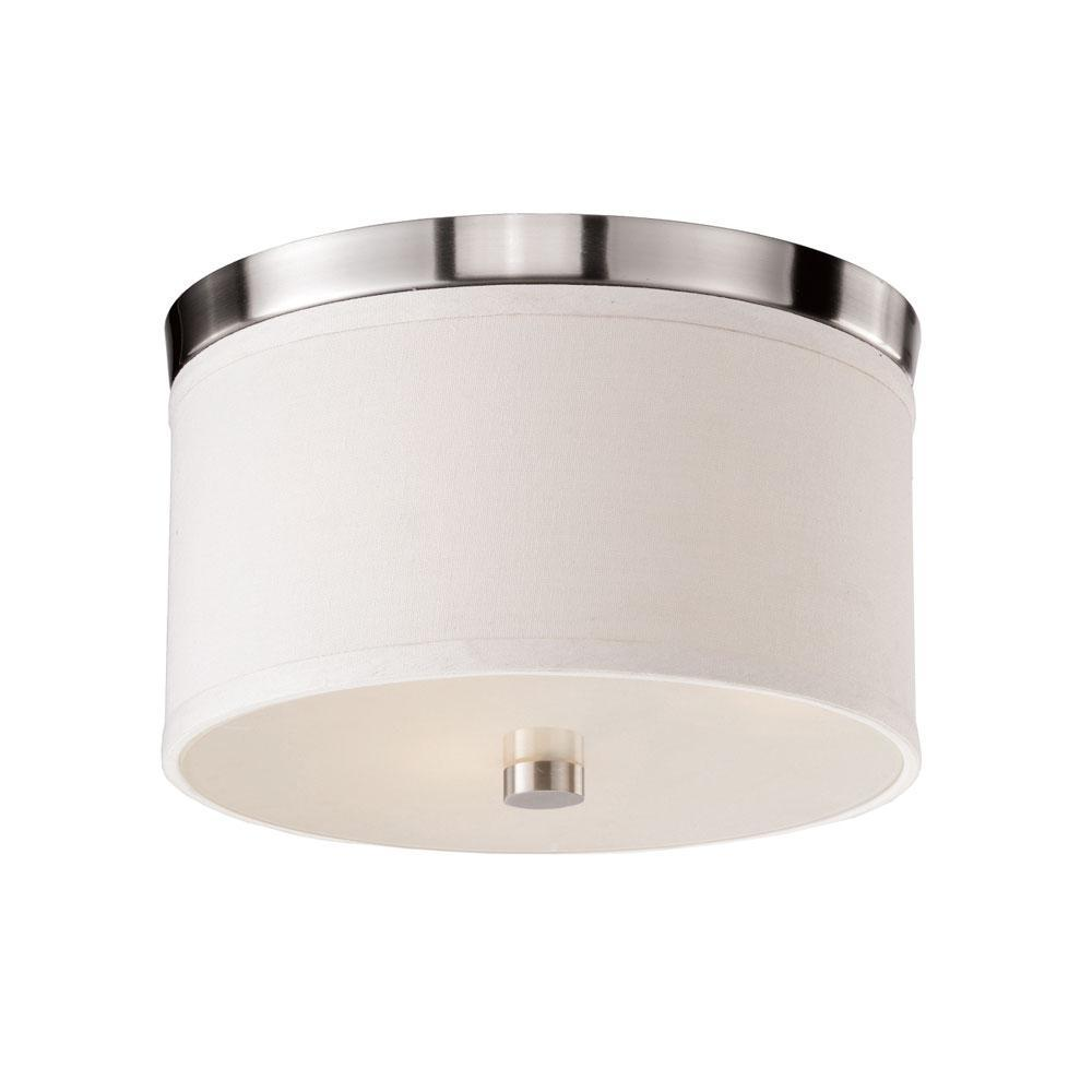 Flush Mount Braxton 10 Inch Round White and Nickel Flush Mount