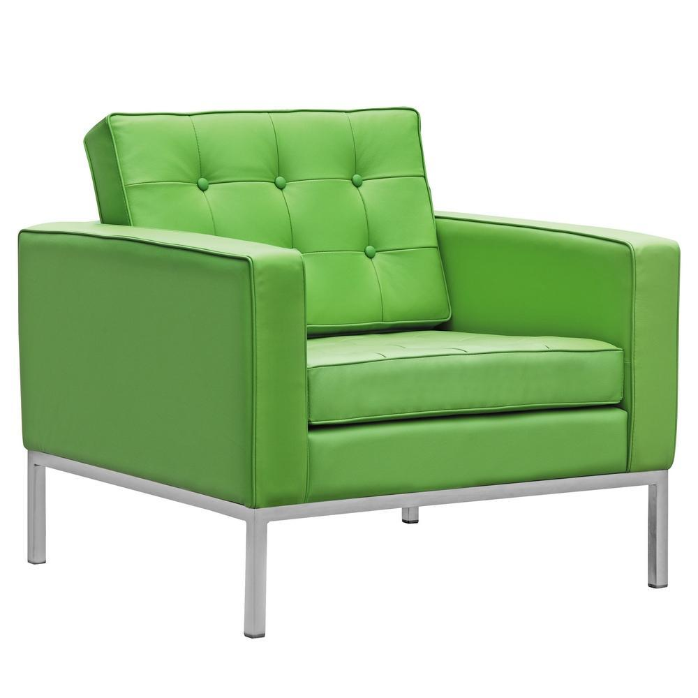 Green Button Arm Chair in Leather