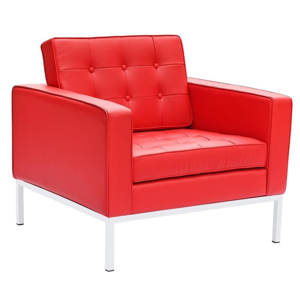Red Button Arm Chair in Leather