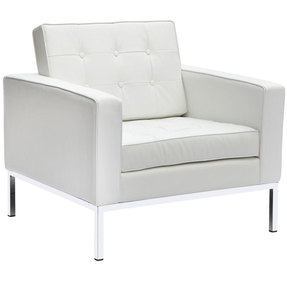 White Button Arm Chair in Leather