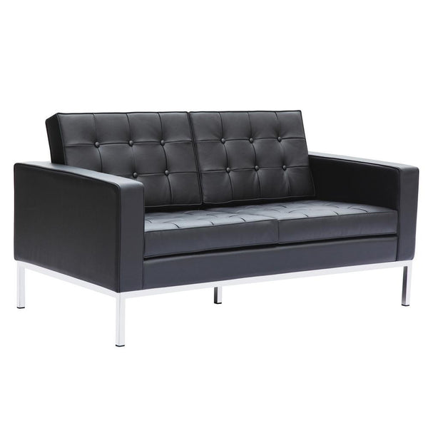 Black Button Loveseat in Leather