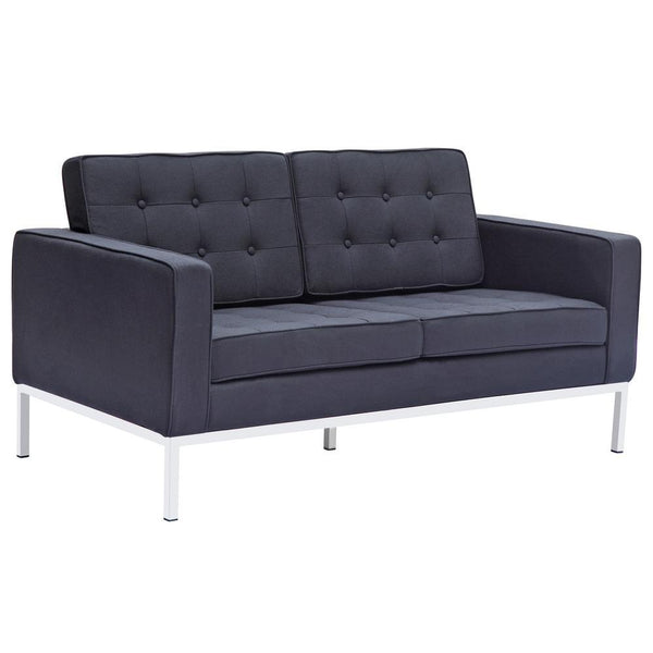 Black Button Loveseat in Wool
