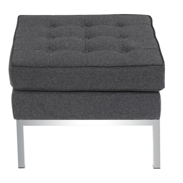Gray Button Ottoman in Wool