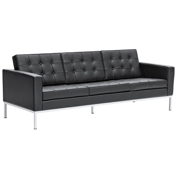 Black Button Sofa in Leather