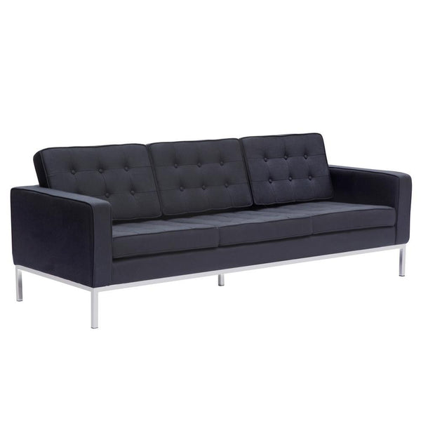 Black Button Sofa in Wool