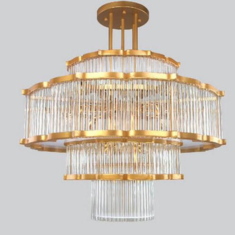 Chinese Crystal Chandelier - Multi-Layer Crystal & Gold Postmodern Chandelier at Lifeix Design