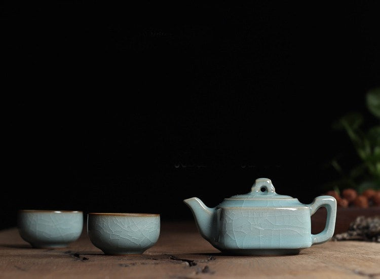 Ge Kiln Powder Green Chinese Porcelain Kung Fu Mini Tea Set