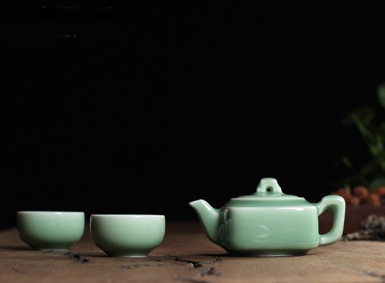 Di Kiln Plum Green Chinese Porcelain Kung Fu Mini Tea Set
