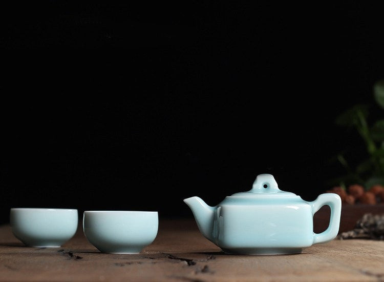 Di Kiln Powder Green Chinese Porcelain Kung Fu Mini Tea Set
