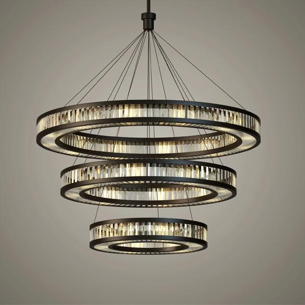 Chinese Style Triple-Layer Crystal Droplight - Post-Modern Crystal Chandelier at Lifeix Design