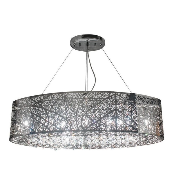 Chrome & Crystal Suaree - Oblong Chandelier