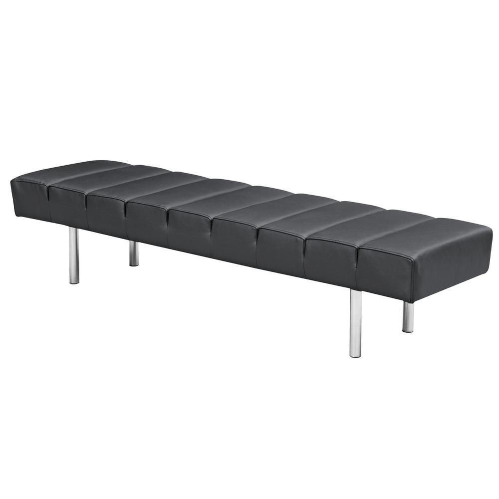Black Classic Leather Bench 3 Seater