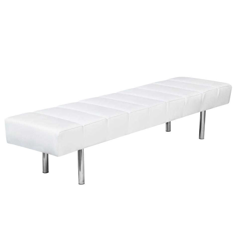 White Classic Leather Bench 3 Seater
