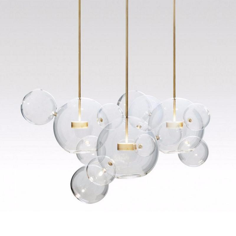 Clear Glass Ball Futuristic Chandeliers Art Deco Pendant Lamp