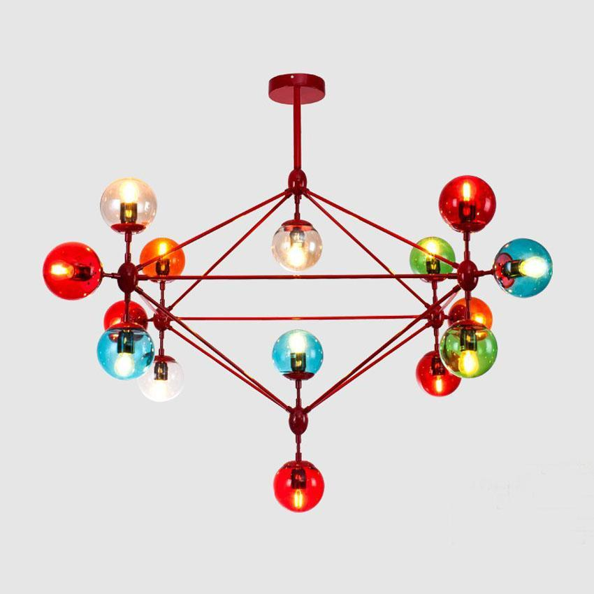 Colorful Nordic Glass Ball Pendant Light - Wrought Iron Ceiling Droplight at Lifeix Design