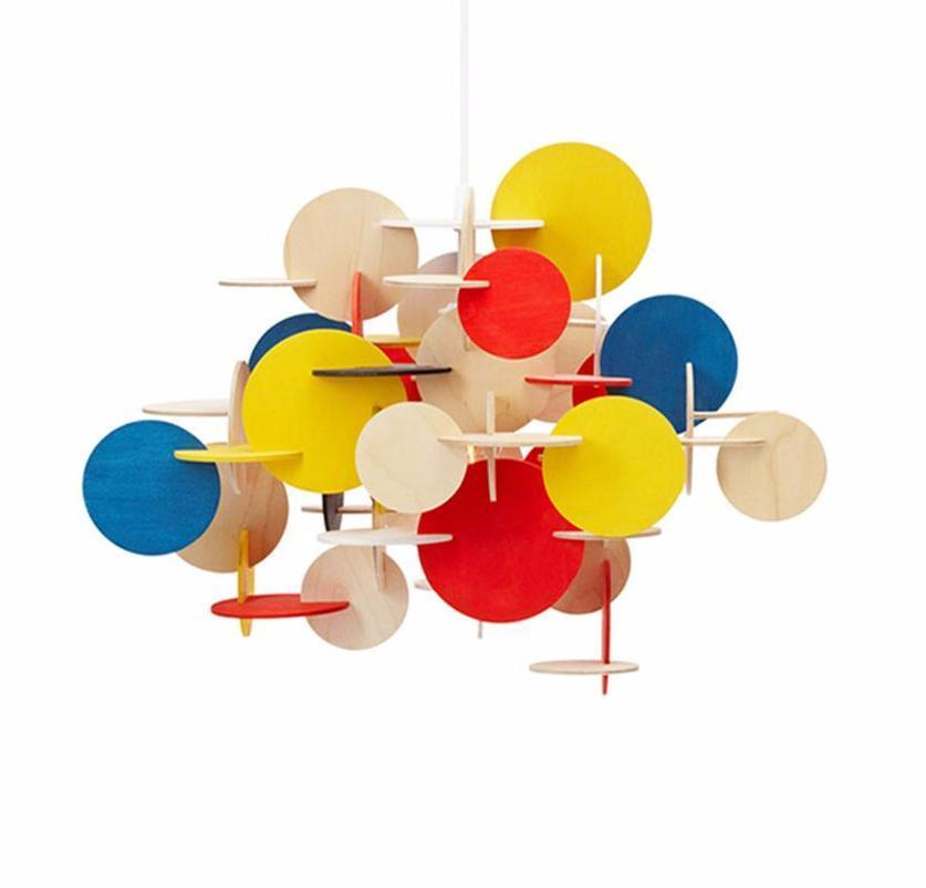 Colorful Solid Wood Round Pieces Pendant Light at Lifeix Design